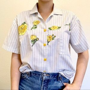 Tops - Vintage Yellow Rose Embroidered Button Down